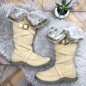 •SKETCHERS• Suede Faux Fur Trim Tall Winter Boots
